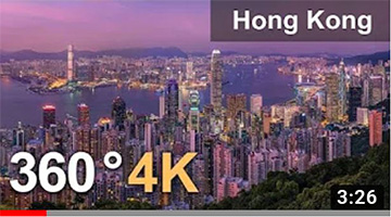 Hong Kong. City of Skyscrapers. Aerial 360 video in 4K