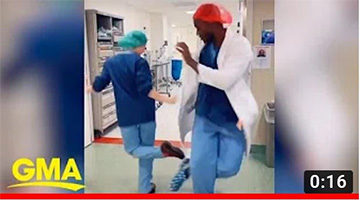 With no handshaking allowed these medical residents did the 'corona foot shake'